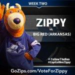 Week 2 voting is under way as Zippy faces Big Red (Arkansas). #CapitalOneZippy http://t.co/D0tF3jqWTa http://t.co/wQlx4o7XtU