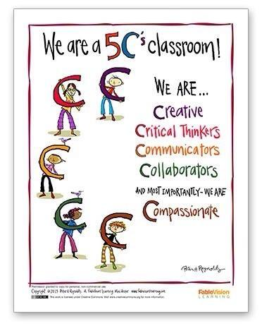 RT @growinglearners: Be a 5 C's Classroom: creative, critical thinkers, communicators, collaborators, & compassionate! #edchat #educoach http://t.co/ARYyPJwNTQ