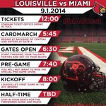 RT @jeffgreer_cj: Pregame festivities per @UofLFootball: CardMarch is 5:45, presentation in stadium at 7:40, kickoff at 8 http://t.co/a7jaTcIZfw