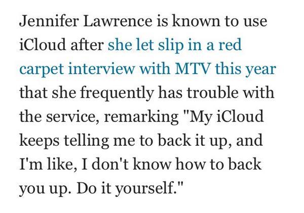 Jennifer Lawrence on iCloud: http://t.co/RcfvDmkbtK