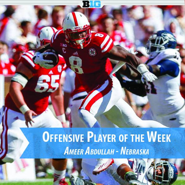 The #B1G Offensive POW is RB Ameer Abdullah of @Huskers - 21 carries for 232 yards & 1 TD vs. FAU. http://t.co/uOzegW7OqB