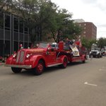 .@CityOfDubuque Fire Department goes old school for Labor Day Parade. http://t.co/HkT0Dc0afl