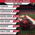 RT @ULFlyingCard: Todays official schedule for fans attending the @UofLFootball game. #blACCout #ACCFirsts #L1C4 http://t.co/9ok6oMUJj8