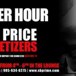 """""""Power Hour"""" at .@sb_prime from 4PM-6PM and that means 1/2 price appetizers & drink specials! #BurlON #COBLife http://t.co/eSrO9iGqcA"""