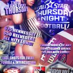 This Thurs! • **ALL STAR THURSDAY NIGHT FOOTBALL** • @theofficemiami • $75 Hennessey $50 Belvedere • Open Till 6am • http://t.co/Zz54XFnyIy