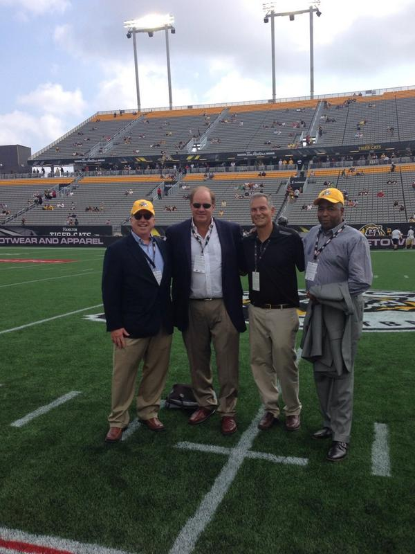 Great day in Hamilton Ontario for opening of Tim Hortons stadium. Chris Berman and I guests of the Ticats!!!#cfl http://t.co/avuwAcYWjp