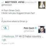 RT @Wzar_Fanilh: بيتر تشيك يرد على احد العمانيين بعدما اخبره انه من اشد معجبيه من عمان. اذا كان يعرف عمان اصلا فرد: دولة علي الحبسي . http://t.co/KH3X9bf4eq