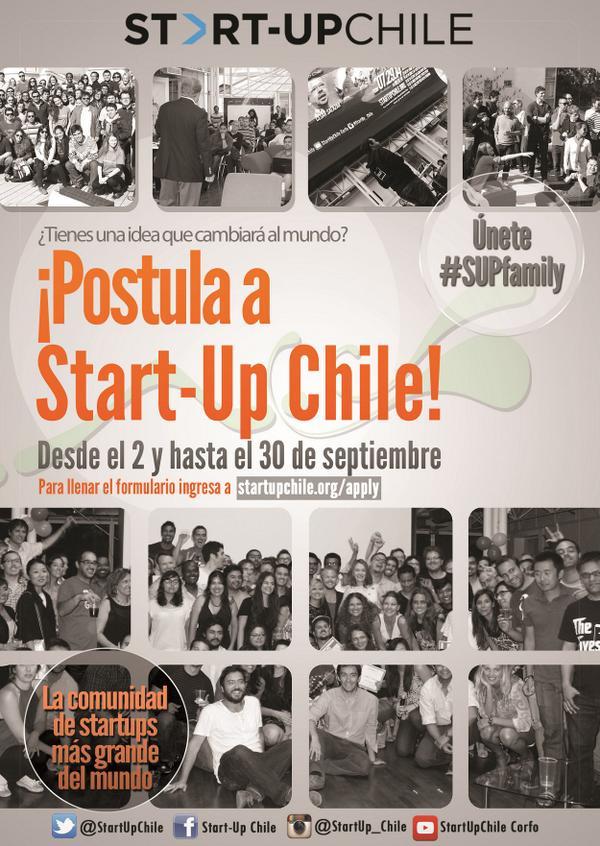 Atención!! Proceso para postular a Start-Up Chile está abierto hasta el 30 de septiembre!! No te quedes fuera!!! http://t.co/6S27AmxgfA