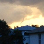 Ryan Connolly captured a shot of this funnel cloud in Brandon, looking toward downtown Tampa. Storms move west. http://t.co/FvgllVleou