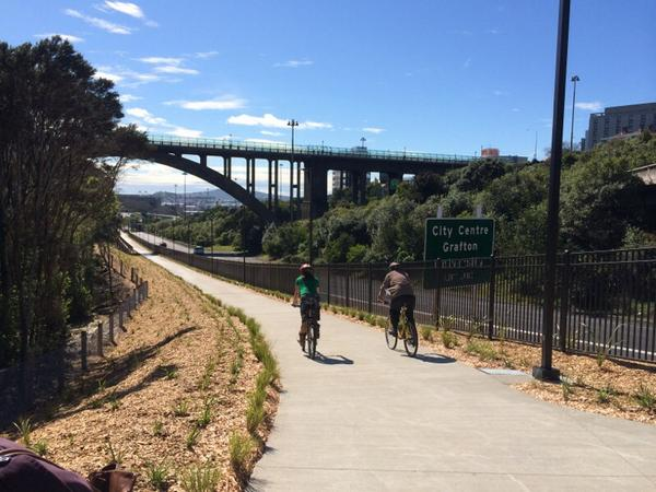 A sneak peak at the Grafton Gully cycle way opening Saturday - along with Upper Queen St and Beach Rd. http://t.co/Y9shO3n8pU