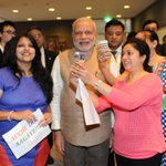 Selfie done, day made! PM @narendramodi obliges Indian students of Sacred Heart University clamouring for a Selfie. http://t.co/ZYnAI72coN