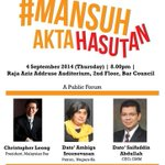 RT @N_YLC: Poster for our launch. Thanks @jofanpang ! Sebarkan. #MansuhAktaHasutan http://t.co/U0cEvXFq9E