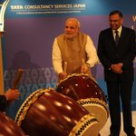 Drumming up support for Indian business in Japan. PM @narendramodi matches Japanese ceremonial drummers beat. http://t.co/W2SodHvo2S