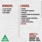 RT @GreensMPs Its clear who wins and who loses from Tony Abbott and Clive Palmers deal to repeal the Mining Tax http://t.co/j6obovJTWe