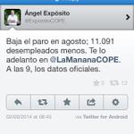 RT @joseareina: El #paro sube 8.070 en agosto. En la COPE han adelantado el dato (ver foto) http://t.co/6r0nwQujKz