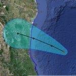 Pronóstico de trayectoria de la tormenta tropical #Dolly en el Golfo de México, incluyendo su cono de incertidumbre. http://t.co/kRMZBcdbTC