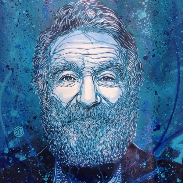 Le street artist C215 rend hommage à Robin Williams (commande pour le Festival de Deauville) http://t.co/BREKrr1isp