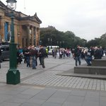 More Police and Media than members of the public here to greet the resumption of Jim Murphys Irn bru crate tour. http://t.co/AuxEVpdoAM