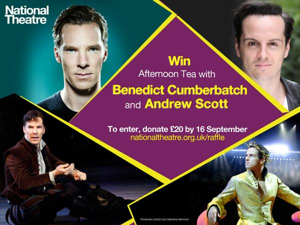 WIN afternoon tea with Benedict Cumberbatch and Andrew Scott. Donate here to enter: http://t.co/pSBDRX7UbK http://t.co/O6JWpCUhEQ