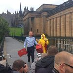 RT @BBCScotlandNews: Jim Murphy was pursued by someone in a chicken suit as he resumed his #indyref campaign tour. http://t.co/egggtkD3Lv http://t.co/VbavIn6mAf