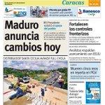 """Maduro anuncia cambios hoy"" es el #titular de nuestra #portada de este #02Sep http://t.co/x8MDWPuseO http://t.co/i3o8kzu0wQ"