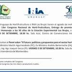 13er Congreso Hortifrutícola, del 3 al 6 de setiembre, Centro de Convenciones Intendencia de Montevideo. http://t.co/XkVpIXhK8y
