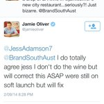RT @JessAdamson7: So just to recap...@jamieoliver has agreed to fix the oversight and put SA wines in his new city restaurant. #cheers http://t.co/5Y4L25AR2X