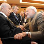 "RT @binugazi: A touching moment Modi reaches out to Netajis oldest living associate in Japan the 99 year old Saichiro Misumi http://t.co/X3Xxr8rneo"""