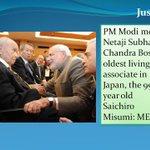 RT @newsroompostind: Just In: PM Modi meets Netaji Subhas Chandra Boses oldest living associate in Japan, the 99 year old Saichiro Misumi http://t.co/2Ajgp9Y4xB
