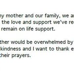 RT @Liz_Kreutz: Joan Rivers remains on life support, her daughter says in new statement: http://t.co/RXZHKLLeT2