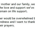 RT @BraddJaffy: Joan Rivers remains on life support, Melissa Rivers says http://t.co/gutihEq0Tp