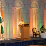 PM Shri @narendramodi at the Indian Community Reception at Hotel Okura in Tokyo #NaMoInJapan http://t.co/qVgczx4Wsh