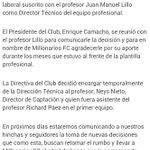Aquí el comunicado de @MillosFCoficial indicando la salida de Lillo. Neys Nieto queda, por ahora, como DT encargado http://t.co/605JOmpOdp