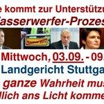 RT @never_everS21: Wasserwerfer-Prozess! Mittwoch, 03.09.2014 - 09.00, Landgericht Stuttgart. Bitte kommt zur Unterstützung! #s21 http://t.co/W3279GghCE