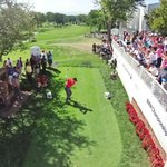 Patrons raced to the first tee to see @McIlroyRory try to drive the green with a persimmon driver. #BMWchamps http://t.co/owD71hEFKO