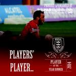 Now time for the big two of the evening. Players Player of the Year goes to .... Josh Hodgson #HKRPOYA2014 http://t.co/tDd26BZI1k