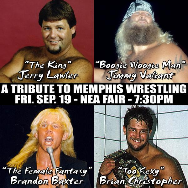 A Tribute To Memphis Wrestling, Friday 9/19, FREE @NEAFair! @JerryLawler, Jimmy Valiant, Brian Christopher, & more! http://t.co/wsB5723qxe