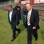 Trevor Nisbett and Vic Park Mayor Trevor Vaughn on Lathlain oval after signing lease agreement for new facilities http://t.co/D81KM0VCvE