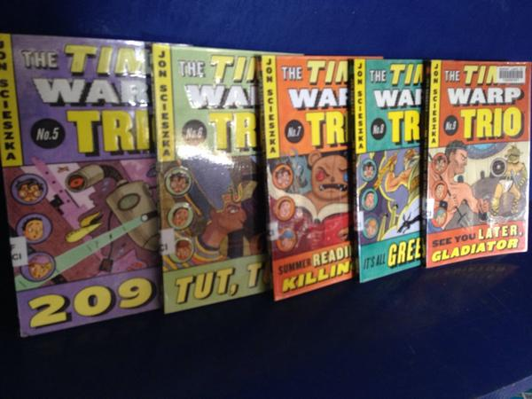 RT @nlpstweets: Time Warp Trio book display in the library - highly recommended for all of our students @Jon_Scieszka #reading http://t.co/phTqHbcESS