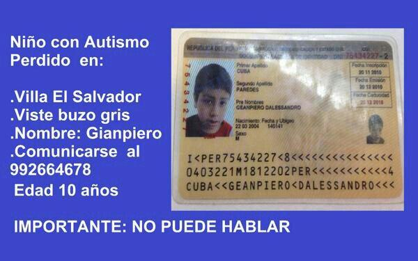.RT Niño perdido @CarmenOmonte @ElMiyashiro Por favor transmitan este mensaje. Mil gracias! http://t.co/HFT7RzAANw