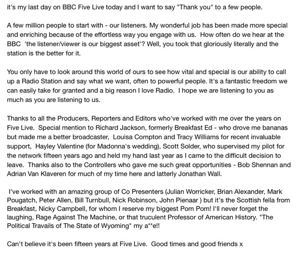 Bye bye @bbc5live ! http://t.co/RWBam5tern