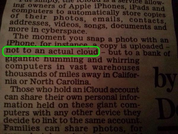Love this. Daily Mail clears up the confusion around iCloud not being an actual cloud in the sky https://t.co/zWHSz9PgzG