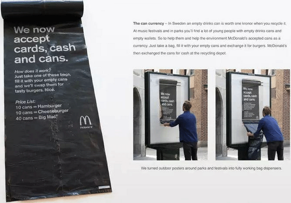 """McDonald's now accepts """"cards, cash and cans"""" in Sweden http://t.co/fqLgl2vbGs #recycle http://t.co/epZAVcaKyv"""