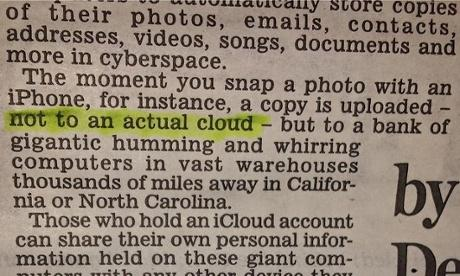 Daily Mail informs readers iCloud is not an actual cloud http://t.co/bLO9fED5Yu @mediaguardian (hat tip to @benblack) http://t.co/PFeqY3Qq2K