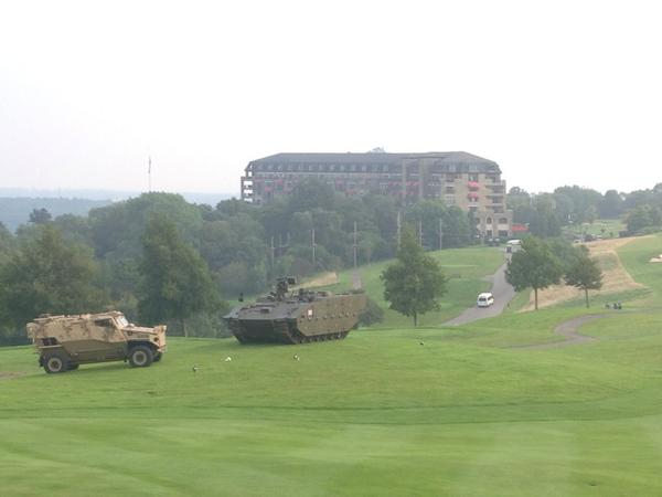 Andrea Byrne (@AndreaByrneTV): View from our live point... @TheCelticManor #NATOSummitUK - 25 mins to on air from here... http://t.co/qUAXpxFzBr