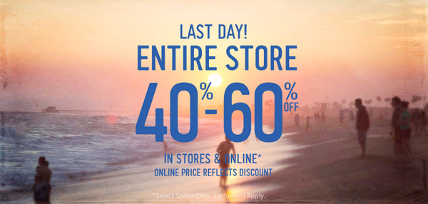 It all comes down to this: 40-60% off EVERYTHING ends today! Shop now at http://t.co/X1587iig5c. http://t.co/N99uA2rhsM