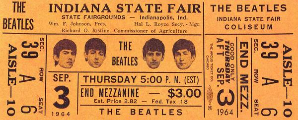 Can you believe it...the Beatles shows @IndyStateFair occurred 50 years ago today! And the top ticket cost just $5!! http://t.co/ci1me300XA