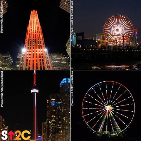 Landmarks in the #USA & #Canada light up in red orange & yellow to stand up to cancer http://t.co/fhFQVEA9uw @SU2C http://t.co/8KbYlOLZ8u