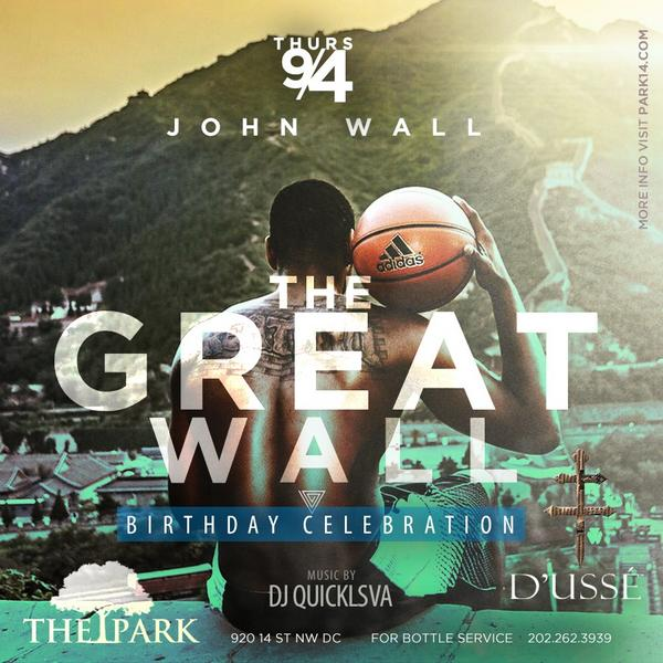 Join us for special edition of #parkthursdays! @john_wall for his birthday celebration! 202.262.3939 bottle service http://t.co/MfrKByEVwc
