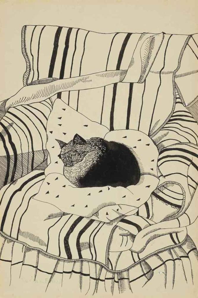 The Sleeping Cat, 1944 Lucian Freud http://t.co/ns9YEWGdkP